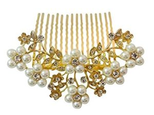 Vogue Hair Accessories Golden And White Pearl Comb Hair Clip For Women