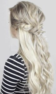 Triple twist half up fishtail hairstyle