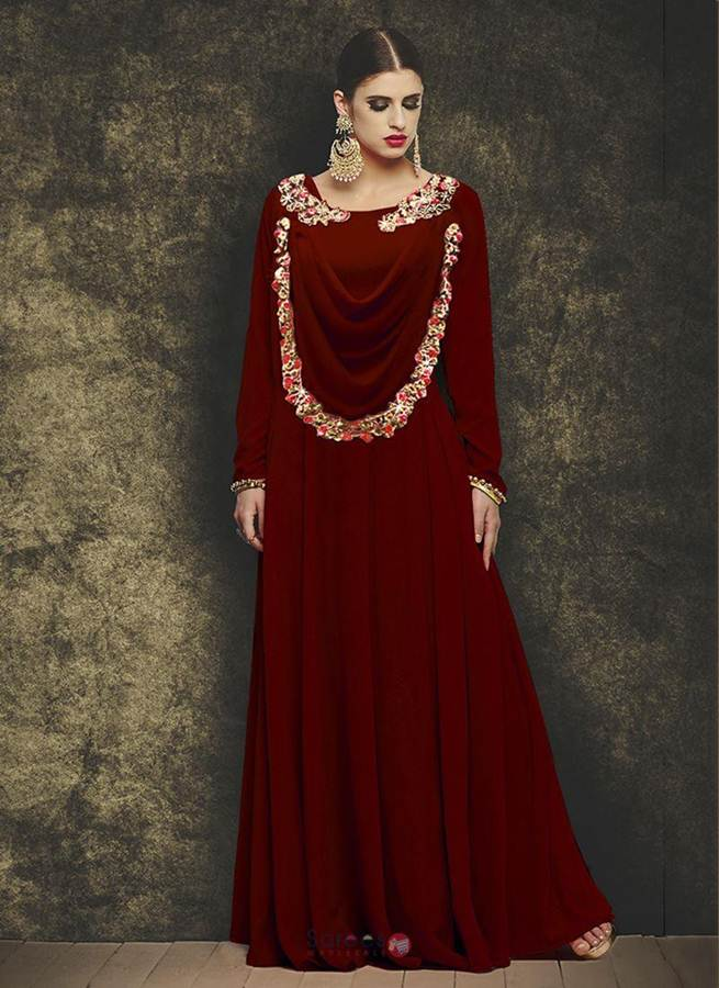 Maroon-Georgette-Hand-Work-Designer-Party-Wear-Gown-74676-74676