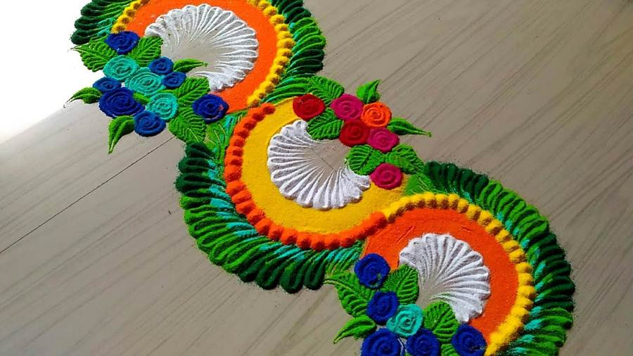 rangoli design in dots
