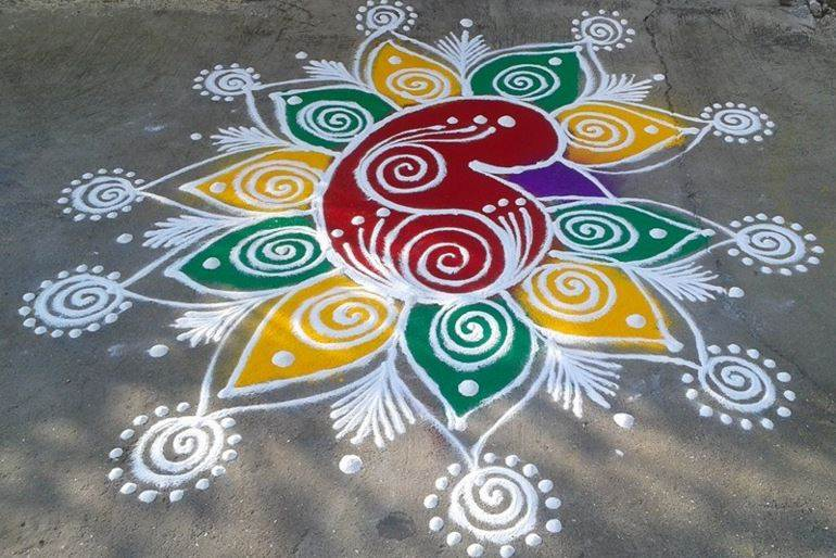 rangoli design of peacock