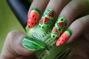 watermelon color nails
